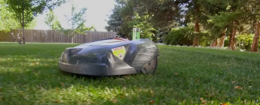 Electric robot mower on lawn