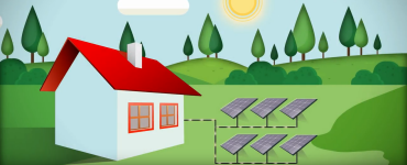 Cartoon illustration of a house with solar panels