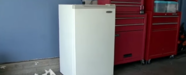 Mini fridge in a garage