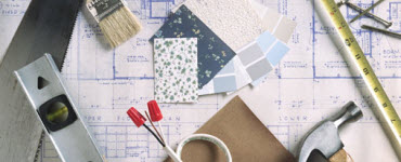 Building materials, blueprints and paint chips