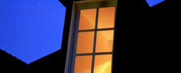 Dormer window at night